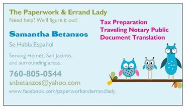 The  Paperwork and Errand Lady Business Card
